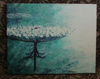 Queen Anne's Lace  Original Oil Painting- Teal