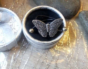 Leather Butterfly Adjustable ring