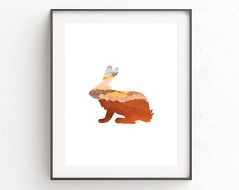 Rabbit Wall Print, Woodland Nursery Wall Prints, Rabbit Wall Art, Rabbit Print, Woodland Nursery, Minimalist Animal Wall Prints, Download