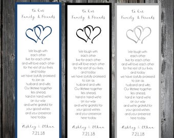 50 Hearts Wedding Bookmarks Favor