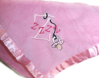 Embroidered Baby Blanket Zzz's with a Binky or Pacifier PINK Blanket with Pink Z's Ready to Ship