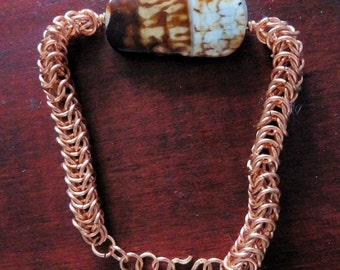 Copper Chain Mail Bracelet with Agate Stone