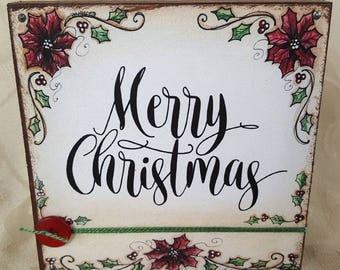 Merry Christmas Poinsettia Wood Block