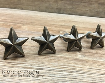 SET OF 4 - Distressed Antique Bronze Cast Iron Texas Star Knobs - Antique Bronze Drawer Pull - Western Theme - Country Rustic Decor