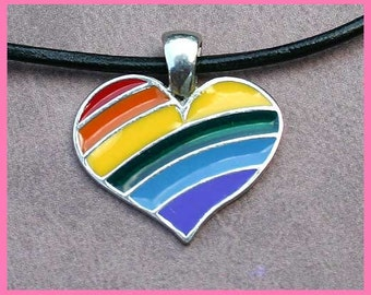 SALE Rainbow Leather Surfer Necklace With Pewter Pride Heart Gay Lesbian
