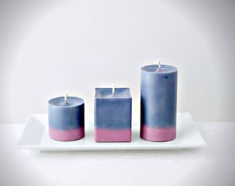 Ash Rose and gray soy pillar candles, scented ash rose and gray soy pillar candles, contemporary biodegradable pillar candles