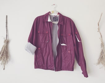 Maroon Wine Windbreaker Bomber