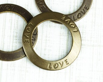25%OFF LOVE Affirmation Ring, Link, Vintaj Made in USA, Rustic Round Charm, Inspirational Stamped Disk Focal Charms, Toggle Clasp 23mm