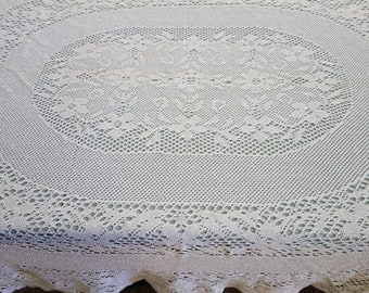 """Vintage or Antique French Hand Made Crochet Oblong Tablecloth 58x70"""" Floral Pattern"""