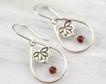 Stamped Teardrop Hoops with Garnet Silver Earrings