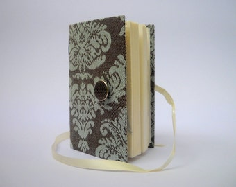 Handmade lined journal notebook for writing, Grey Mint damask print, Bridal wedding journal diary, Silver black button white ribbon closure