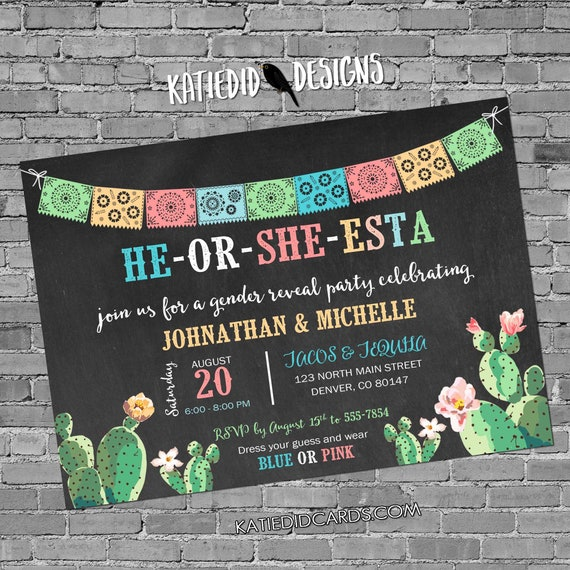 Fiesta gender reveal invitation cactus couples baby shower cinco de mayo coed twins mexican party he or she western | 1490b katiedid designs
