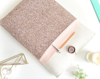Herringbone + Pink iPad Case, iPad Pro Case Cover, iPad Air Sleeve, iPad Sleeve Case, iPad Mini Cover, Padded Handmade Tablet Case