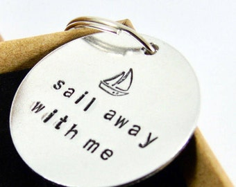 Keyring for Boyfriend or Girlfriend Hand Stamped  Token of Love New House First Car Custom Personalised