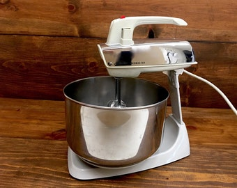 Removable Sunbeam Mixmaster Chrome Hand Mixer with Stand 1950's