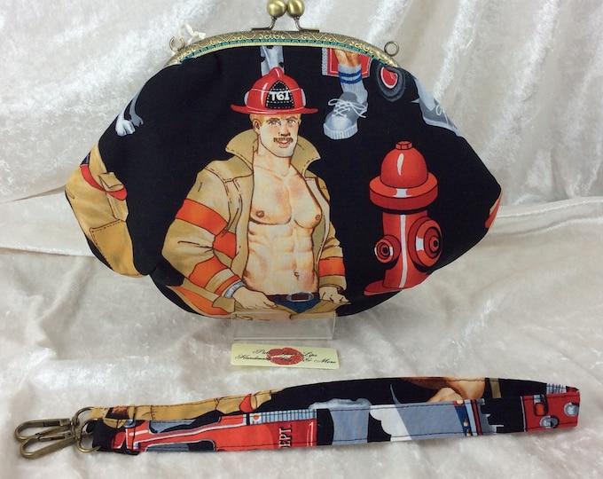Firefighters Fabric purse bag frame handbag fabric clutch shoulder bag frame purse kiss clasp bag Alexander Henry firemen Ready For Action