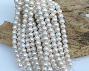 White Freshwater Pearls - LARGE HOLE Beads - 10-11mm - 8 Inch Strand - 21 beads - 2.5mm Hole