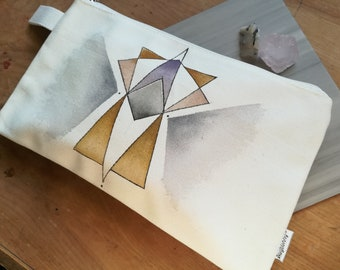 D E C O IV- Deco Series- Hand painted watercolor ink canvas clutch bag