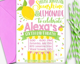 Lemonade Birthday Invitation | Pink Lemonade Birthday Invitation | Lemonade Invitation | Lemonade Stand | Digital Invitation | Design 17046
