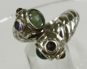 Size 10 Ring : Vintage Sterling 925 Silver Snake Bypass Wrap Around Ring W/ Cabochons (99.09 EE)