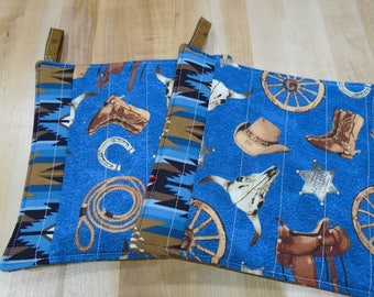 Quilted Hot Pads,Hot Pad,Hot Pads,Western,Western Pot Holders,Pot Holders,Pot Holder, Cowboy Kitchen,Cowboy Boots,Ranch Kitchen