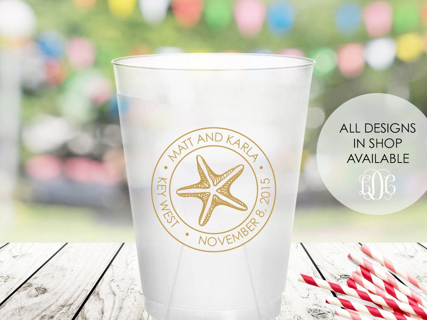 Personalized Frosted Cups, 16oz, Plastic Party Cups, Starfish ...