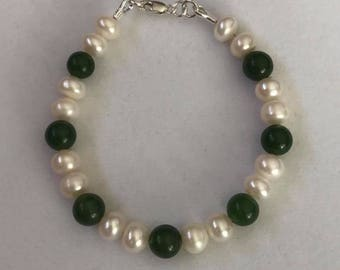 Freshwater Pearls, Jade And Sterling Silver Bracelet