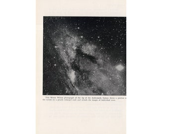 1946 ANDROMEDA GALAXY LITHOGRAPH - original vintage print - celestial astronomy - from a photograph taken at Mount Wilson - individual stars