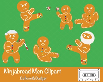 Ninjabread Men Clipart Pack for Scrapbooks | Christmas/ Xmas/Holiday Cards, Cake Toppers | Invitations