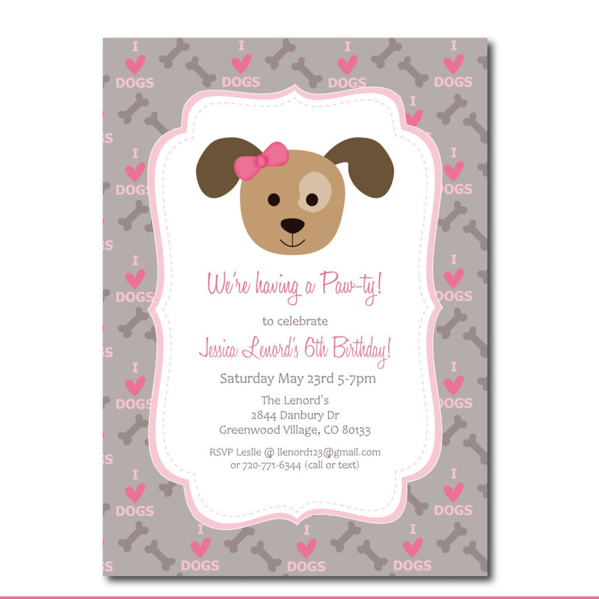 Puppy party invitation with editable text dog party zoom filmwisefo Images