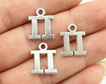 6 Greek Letters PI Charms, Antique Silver Tone (1E-128)