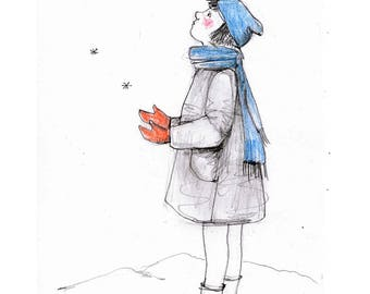 SALE Girl child snow original drawing illustration figurative art pencil winter wall decor