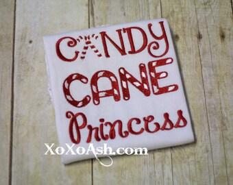Candy Cane Princess-- Girls Christmas Winter-- Appliqued Embroidered Shirt or bodysuit