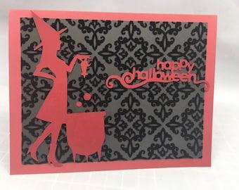 Witch with Cauldron Halloween Card - Gothic Halloween Velvet flocked paper
