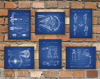 Science Fiction Art Print Set Of 6 - Science Fiction - Spacecraft Art Design - Space Decor - Sci Fi Bedroom Wall Art - Science Fiction Gift