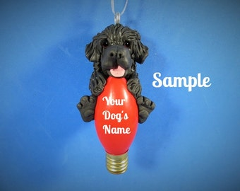 Black Newfoundland Dog Christmas Holidays Light Bulb Ornament Sally's Bits of Clay PERSONALIZED FREE with dog's name