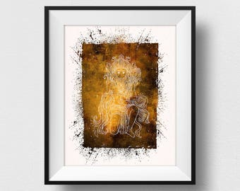 Hanuman Painting, Hanuman Wall Art, Hanuman Print, Yoga Decor, Spiritual India Print, Indian God Home Decor, Watercolor Hanuman (N536)
