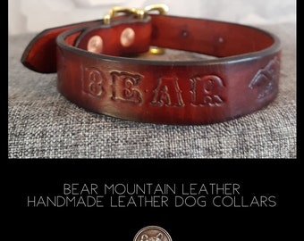 Custom Name Leather Dog Collar with Bear Mountain Design