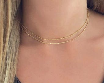 Dainty Elegant Gold or Rose Gold Minimalist Necklace, Double Chain Choker Necklace / Delicate Layering Everyday Simple Short Chain Necklace