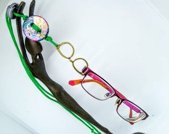 Adjustable Handmade glasses necklace, foil button glasses lanyard pendant, green glasses holder, green glasses chain, glasses chain lanyard