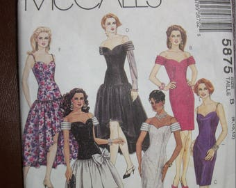 Mccall 5875 Misses Size B (8-10-12) dresses and gowns.  Petite-able