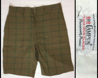1960s Campus brand plaid burmuda shorts brown green burgundy blue 27 inch waist flat front skate punk grunge