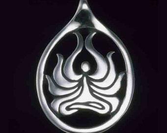 Lotus Asana Pendant - Yoga & Meditation Collection - Silver Symbolic Jewelry by K Robins Designs