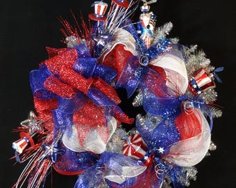 4th of July Wreath,4th of July Party Decoration,Uncle Sam,American Flag,Independance Day Wreath,Red White and Blue Wreath,Patriotic Wreath
