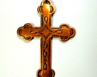 Southwest Copper Cross Pendant on Copper Chain 1970s, Christian Religious Symbol, Pueblo New Mexico Native Style, Cowgirl Western Cross