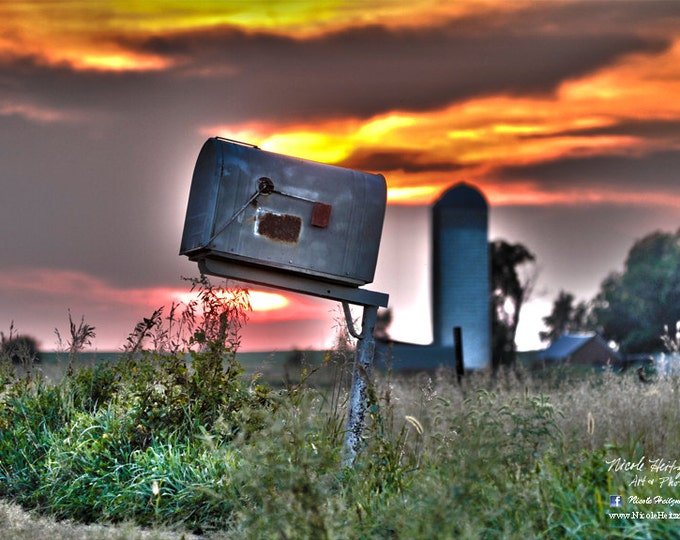 Farm Photo Old Mailbox Photography HDR Photography Rural Country Scenery Country Decor Silo Farm Scene Summer Photography by Nicole Heitzman