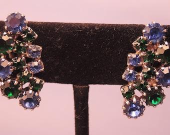 Blue and Green Rhinestone Clip Earrings 1950-60s