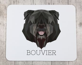 A computer mouse pad with a Bouvier dog. A new collection with the geometric dog
