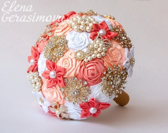 Brooch Bouquet. Coral White Fabric Bouquet, Unique Wedding Bridal Bouquet