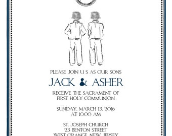 Printable 'Custom Sketch' First Communion Invitation - Twins